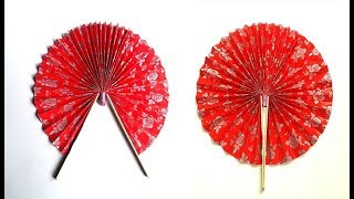 How to make a Hand fan with paper # Orgami Paper hand Fan # Chinese hand fan making