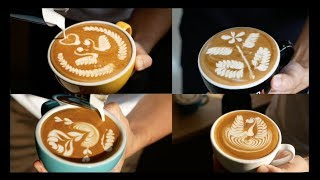 How to pour a cup of perfect freepour latte art!(1080P version)