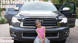 2018 Toyota Sequoia Walk Around and Review. Hulyan and Maya's New CAR. Family Toy Channel