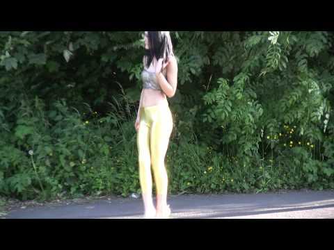 Carmel Outdoors in Gold Wetlook Spandex Leggings