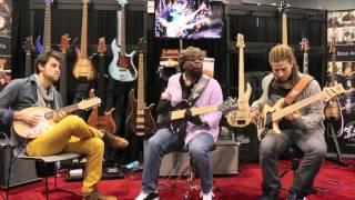 F Bass at NAMM 2015: Alain Caron, Karel Honasan, David Hughes, Etienne M'Bappe and Swaeli M'Bappe