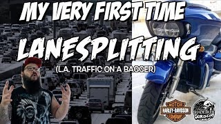 My very first time lanesplitting... and its on a Harley BAGGER