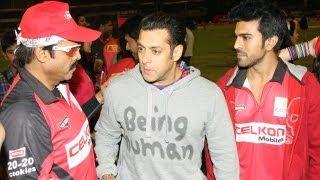 Salman Khan celebrates Riteish Deshmukh and Venkatesh's Celebrity Cricket League victory