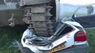tank crushes car 29 - VW Golf