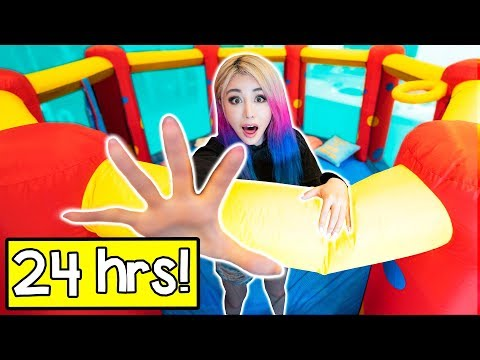24 Hours In A Bounce House Challenge