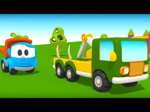 L o le camion curieux la tour de cubes et ses couleurs - Leo le camion benne ...