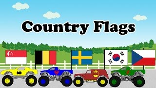 Flags of The World Educational Videos for Kids Monster Trucks - Part 3