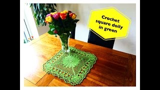 How to crochet square doily in green