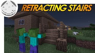 Minecraft Redstone: RETRACTING STAIRS! How to Keep Zombies Out of Your House! (Minecraft Redstone)