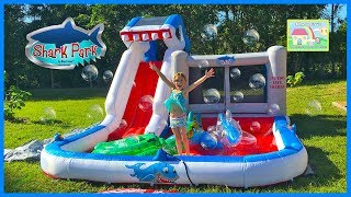 HUGE INFLATABLE SHARK WATERSLIDE & OUTDOOR BOUNCER BallPit Frozen Beach Ball, Sharks Toys & Slide!