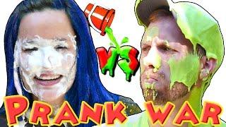 PRANK WAR Nickelodeon Green Slime Ooze - Pie Face & Blue Hair Dye! DCTC