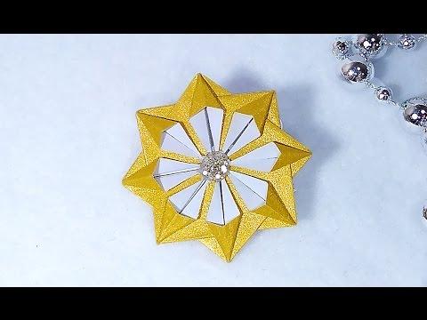 Christmas star - origami style. Easy paper star. Tiny Christmas ornament - star