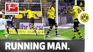 Aubameyang and Mkhitaryan do the Running Man