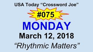 """#075 USA Today Crossword """"Rhythmic Matters"""" March 12, 2018"""