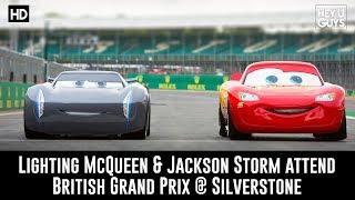 Lightning McQueen attends the British Grand Prix with Owen Wilson & Jackson Storm