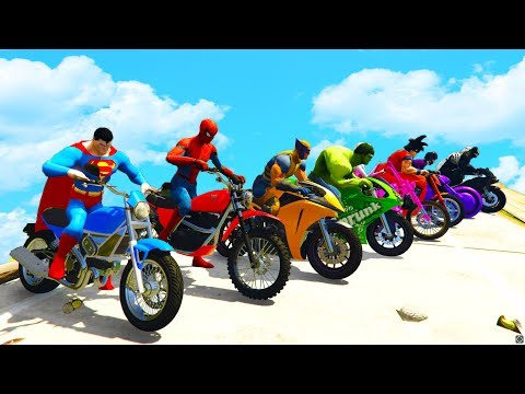 LEARN COLORS SPEED BIKE and JETSKI w/ Superheroes Fun Animation for Children