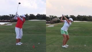INBEE PARK vs STACY LEWIS - DRIVER GOLF SWING DOWN THE LINE & SLOW MOTION - 1080p HD
