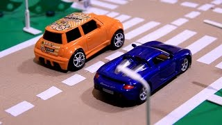 Cars Race & Crashes with Toy Racing Cars for Kids