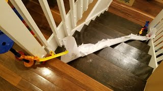 GIANT Marble Run Race With PAPER SLIDE DOWN THE STAIRS!?