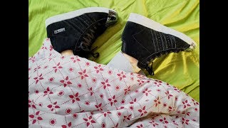 She is sleeping in Adidas Superstars UP