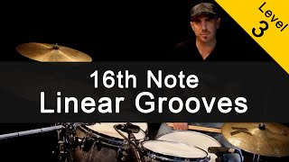 [FUNK] 16th Note Linear Grooves Drum Lesson [Intermediate]