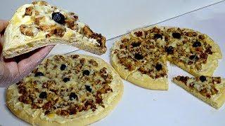 بيتزا المطاعم الراقية بدون بيض وبدون طماطم بالصلصة البيضاء من ألذ ما يكون