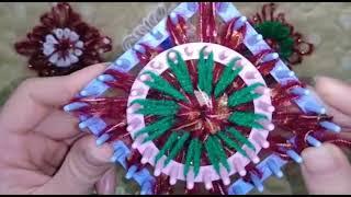 وردة بطبقتين بالنول اليدوي المربع والدائري واستخداماتها Double flower loom