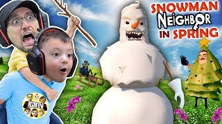 HELLO NEIGHBOR CHRISTMAS MOD! Snowmen in APRIL?  Amazing Frog Teleport  (FGTEEV Duddz & Shawn)