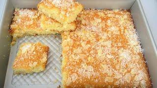 Basbousa Cake ، Semolina Coconut Rava Cake Recipe بسبوسه کیک نارگیلی