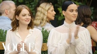 Emma Stone & Katy Perry Watch the Creative Final Fashion Show | Vogue