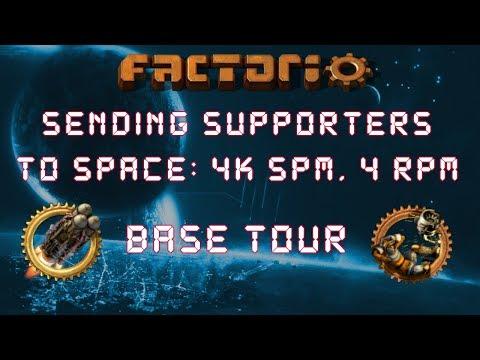 Factorio Sending Supporters To Space Base Tour 4k Science & 4 Rockets Per Minute Megabase