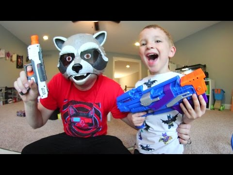FATHER SON SUPER HERO NERF WAR Guardians Of The Galaxy