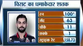 RCB vs Gujarat Lions, IPL 2016: Virat Kohli Hits Century (100 Runs off 63 Balls)