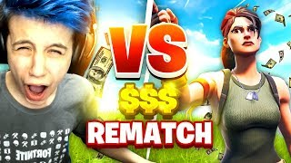 CHALLENGED to a 1V1 WAGER REMATCH LIVE! (Fortnite Battle Royale)