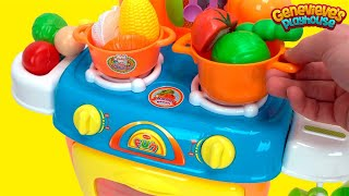 Best Toy Kitchen Food Name Videos for Kids Preschool Educational Toy Stove Minnie Mouse Toy Cooking!