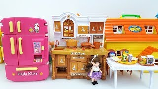 Hello Kitty Kitchen Toys Velcro Cutting Miniature Kitchen Toys Pororo Doll House