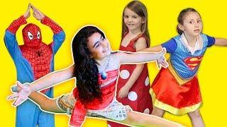 Moana Maşa Spiderman Supergirl Jimnastik Challenge   Mira ve Ege ile Eğlenceli Çocuk Videosu