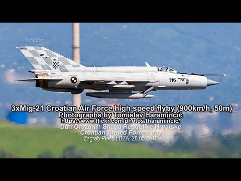 3xMig-21 Croatian Air Force high speed flyby (900km/h, 50m) (DanOSRH, Zagreb-Pleso LDZA 28.05.2016.)