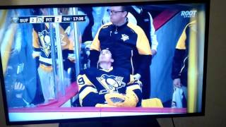 Old man robs puck from young kid at NHL game