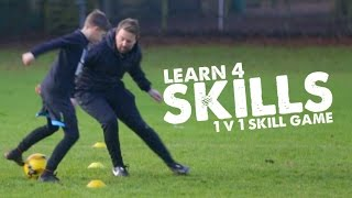 Learn 4 Football Skills to lose your defender & 1v1 skill game - Day 31 of 90