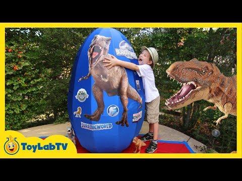 GIANT EGG SURPRISE OPENING! Jurassic World Dinosaur Toys Kids Video