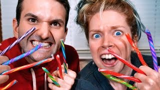 CRAZY CANDY CANE TASTE TEST FT. MY BROTHER!