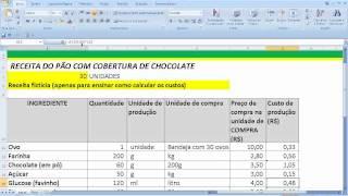 Cálculo do preço de venda de um produto a partir dos custos ingredientes insumos passo a passo Pão A
