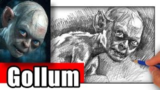 How to Draw Gollum from Lord of the Rings LOTR