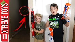 3AM Challenge Gone Wrong! Nerf Blaster Sabotage, Ethan and Cole Vs. Ghost!
