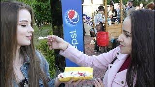 Pretty Girls Eat Russian Oladushki, Sweet Small Pancakes. Minsk Street Food, Belarus