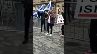 Scottish Defence League's leader Liam Rae talks at Edinburgh protest