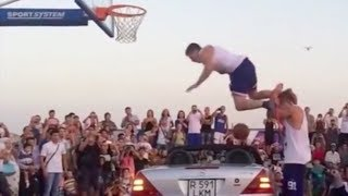 Dunk Over a Car Goes Horribly Wrong!