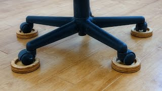 Save Your Wood Floor From The EVIL Office Chair With These DIY Caster Coasters!