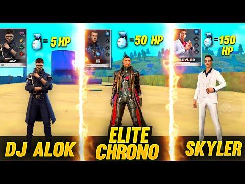 Dj Alok VS Elite Chrono VS Skyler And Many More Character Ability Test Garena Free Fire